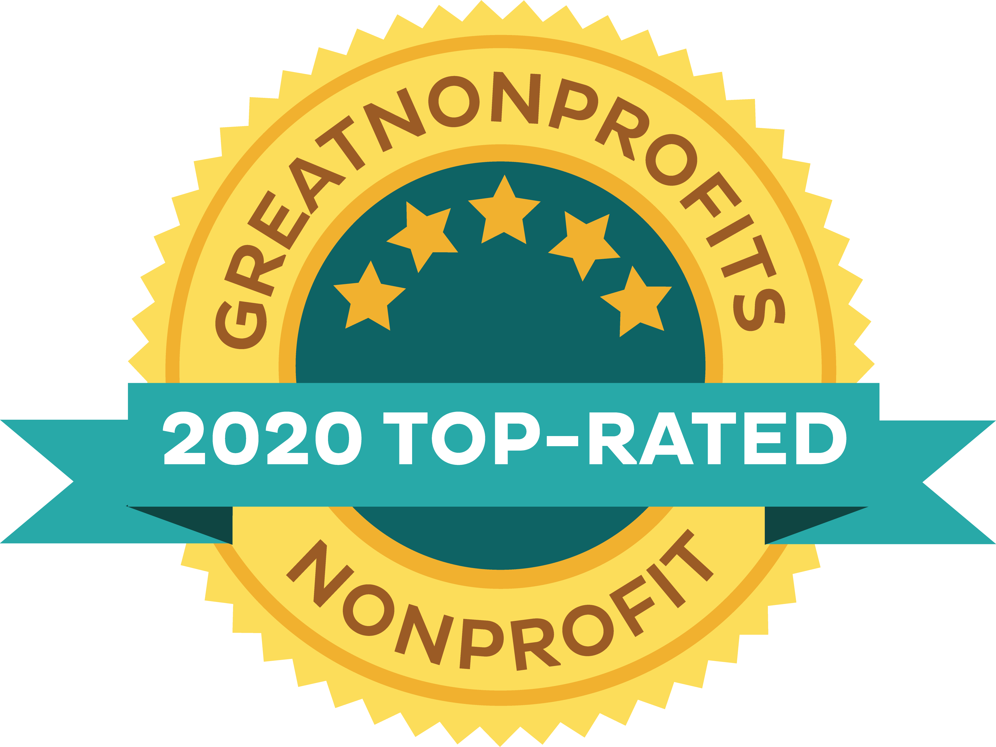 Graphic: Great Nonprofits 2020 Top Rated Nonprofit Badge