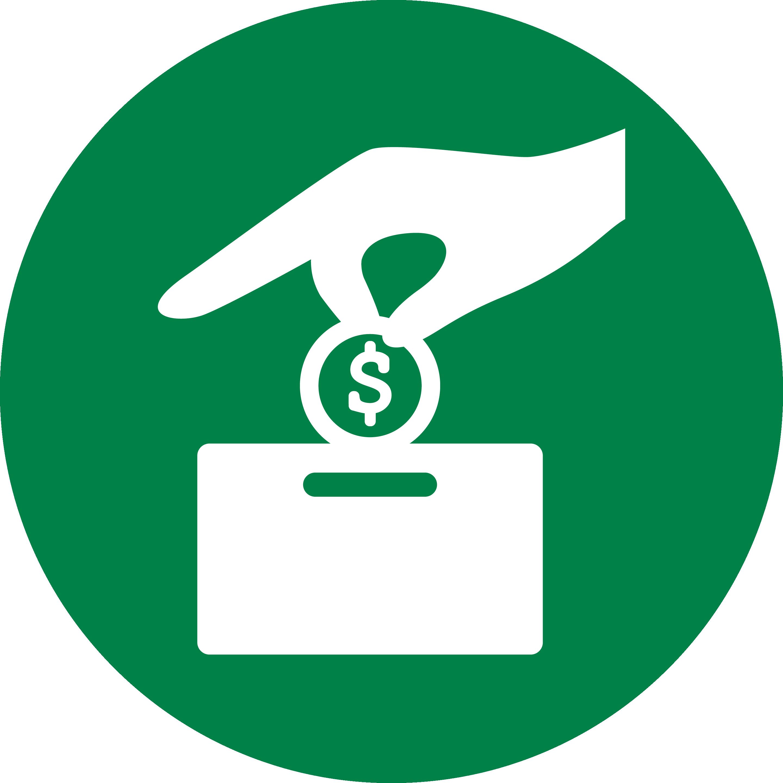 Graphic Description: Green icon of a hand dropping a coin into a box