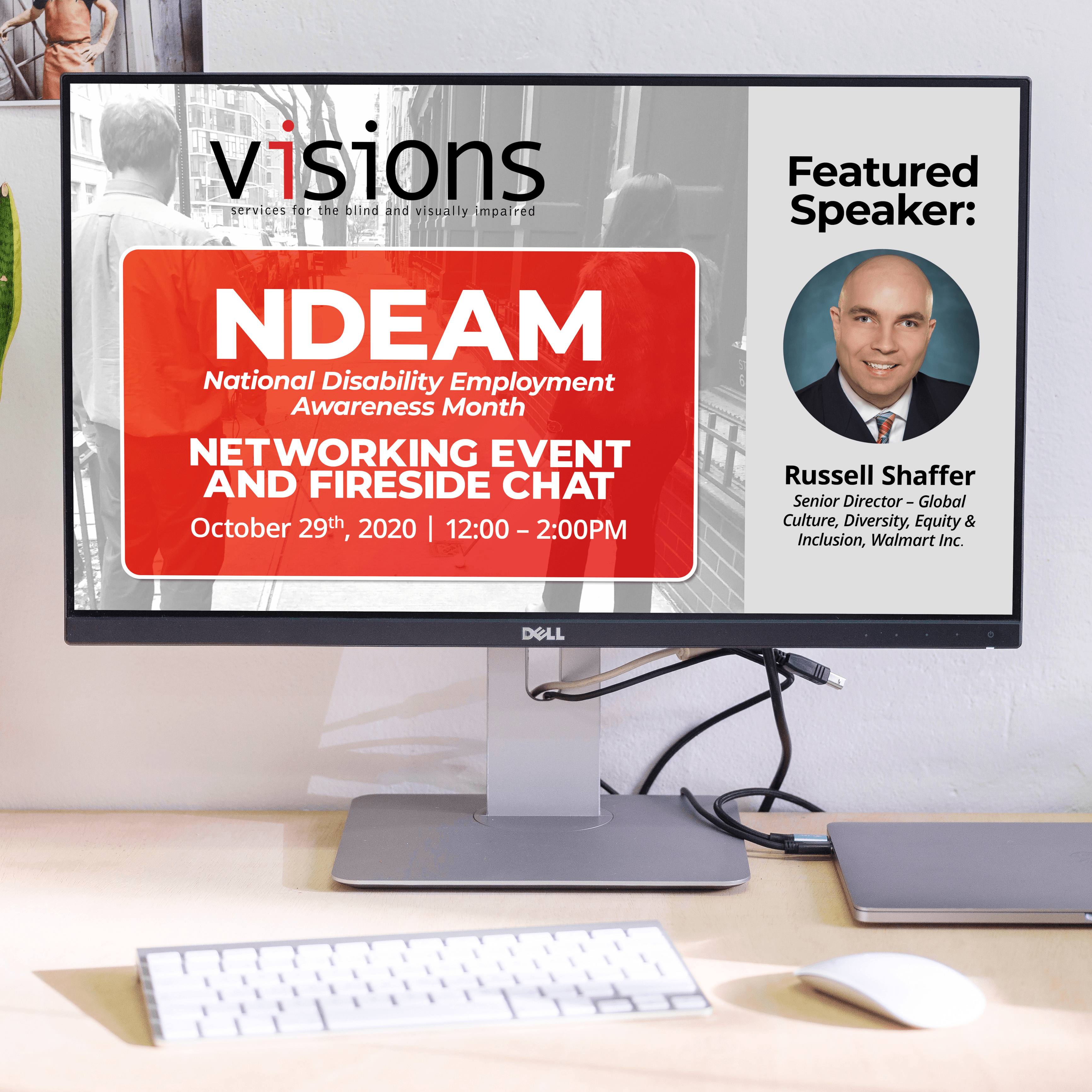 A monitor on a desk shows VISIONS NDEAM title graphic, featuring Russell Shaffer of Walmart.