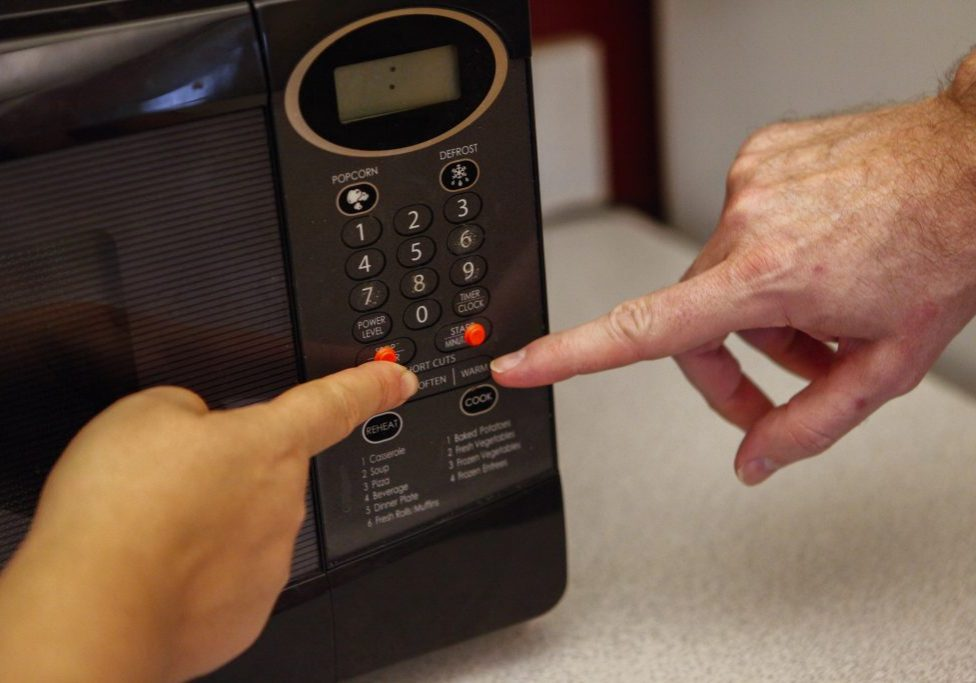 touching a microwave
